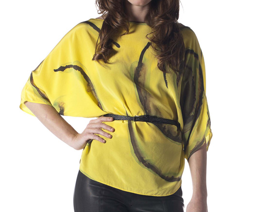 Hand-Painted Silk Kimono Blouse (Yellow)