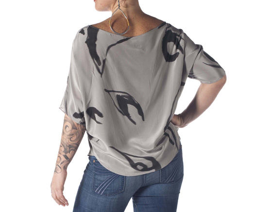 Hand-Painted Silk Kimono Blouse (Grey)