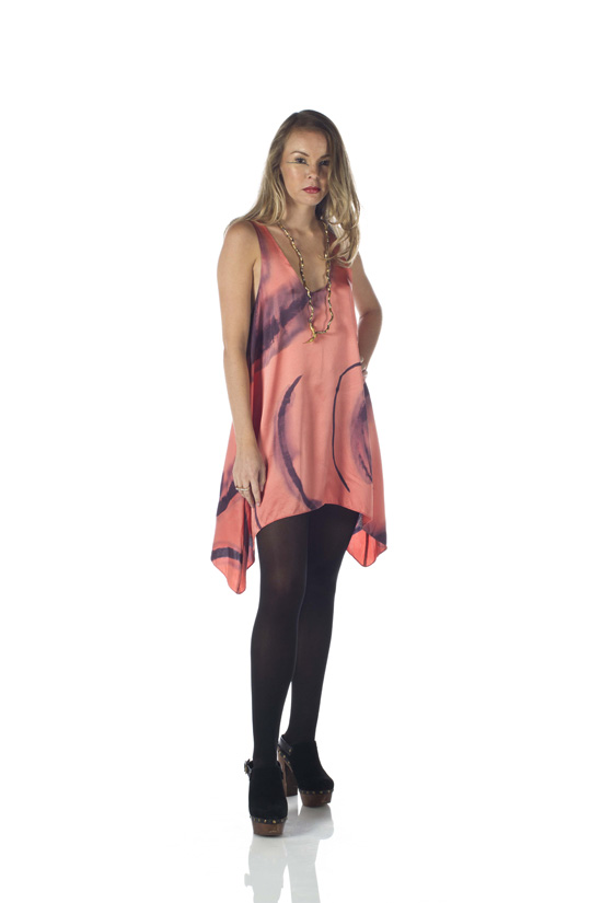 Hand-Painted Silk Charmeuse Dress / Long Tunic (Peach)