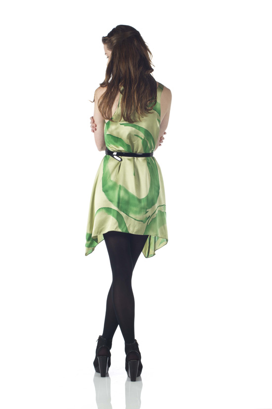 Hand-Painted Silk Charmeuse Dress / Long Tunic (Green)