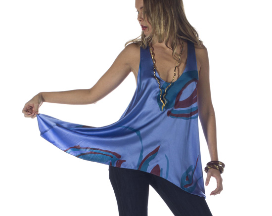 Hand-Painted Silk Charmeuse Tunic (Blue)