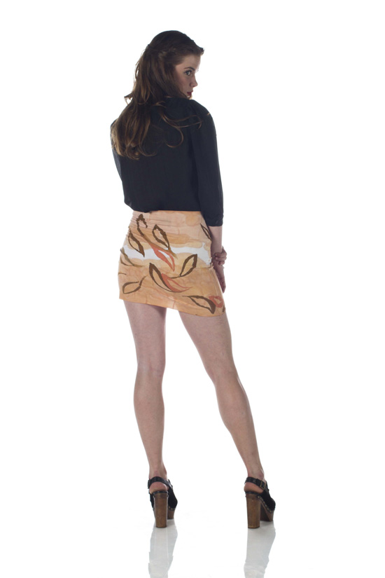 Hand-Painted Bamboo Knit Miniskirt (Falling Leaves)