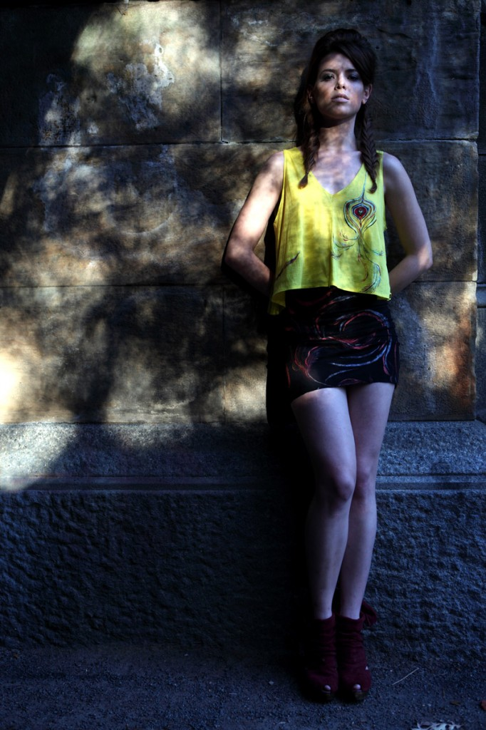 Hand-painted Cotton Tank & Bamboo Miniskirt